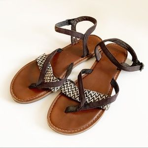 Tom's Black Canvas Lexi Chic Summer Sandals Size 7